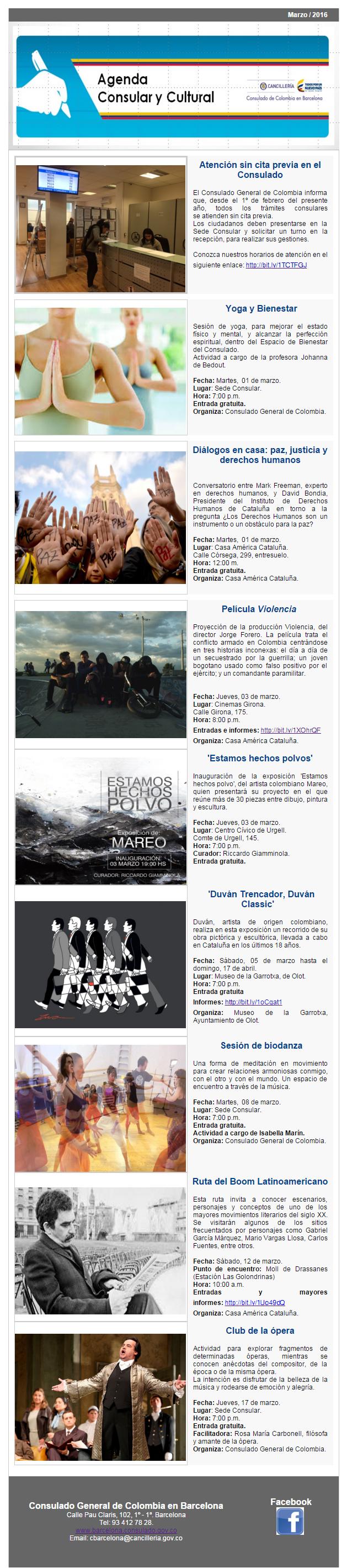 Conozca la agenda consular y cultural para marzo de 2016 - Agenda cultura barcelona ...