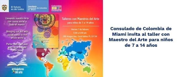 Consulado de Colombia de Miami invita al taller con Maestro del Arte