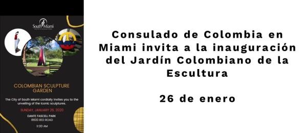 Consulado General Central de Colombia en Miami invita a la inauguración del Jardín Colombiano de la Escultura el 26 de enero de 2020