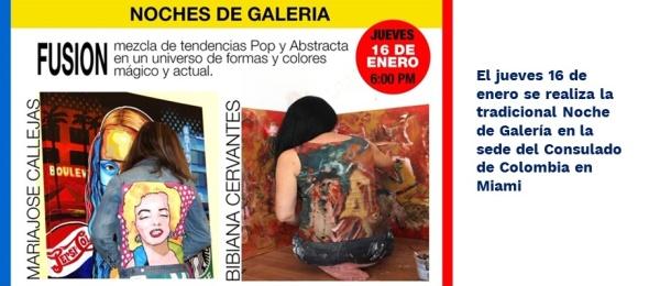 El jueves 16 de enero se realiza la tradicional Noche de Galería en la sede del Consulado de Colombia