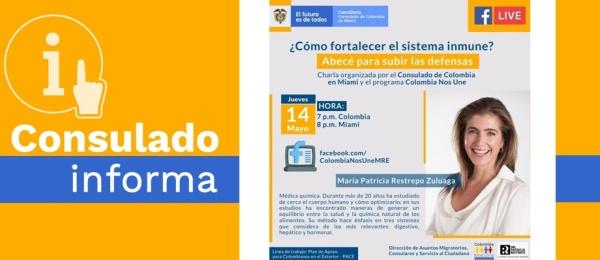 Aprenda cómo subir sus defensas el 14 de mayo, en la charla virtual organizada por el Consulado de Colombia en Miami