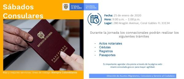 Jornada de Sábado Consular este 25 de enero en el Consulado de Colombia en Miami 2020
