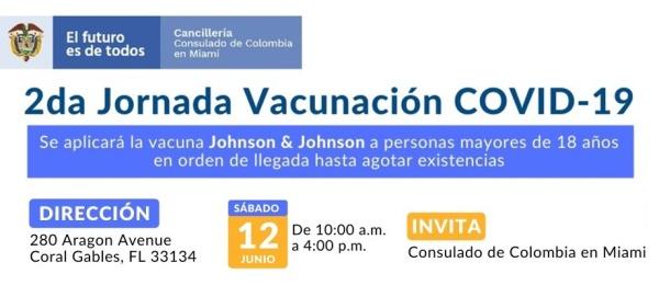 Jornada de Vacunación en el Consulado de Colombia en Miami el 12 de junio de 2021