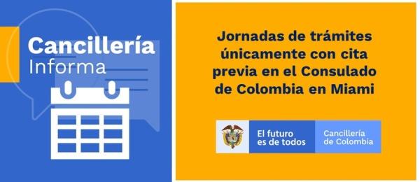 Jornadas de trámites únicamente con cita previa en el Consulado de Colombia