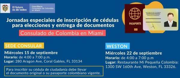 Jornadas Especiales de Inscripción de Cédulas para Elecciones y Entrega de Documentos en el Consulado de Colombia