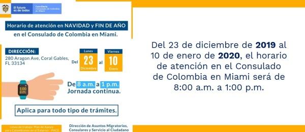 Del 23 de diciembre de 2019 al 10 de enero de 2020, el horario de atención en el Consulado de Colombia en Miami será de 8:00 a.m. a 1:00 p.m.