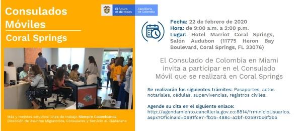 Consulado de Colombia en Miami realizará un Consulado Móvil en Coral Springs, el 22 de febrero de 2020