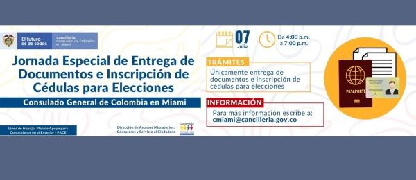 El Consulado de Colombia en Miami realizará jornada especial de entrega de documentos e inscripción de cédulas para elecciones el 7 de julio de 2021