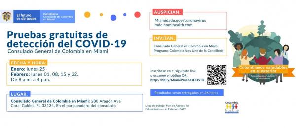 Consulado de Colombia en Miami ofrecerá pruebas gratuitas de detección del COVID-19, en enero y febrero de 2021