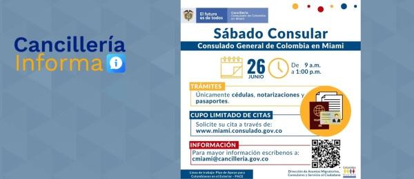 El Consulado de Colombia en Miami realizará una jornada de Sábado Consular el 26 de junio de 2021