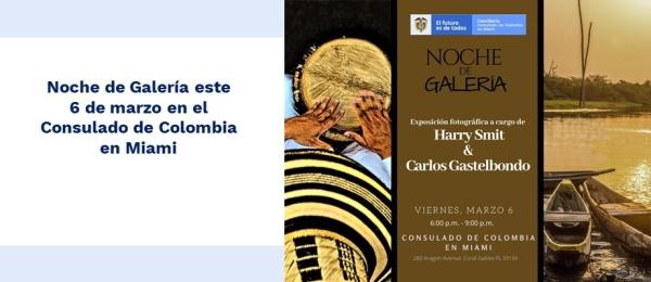 Noche de Galería este 6 de marzo de 2020 en Consulado de Colombia en Miami