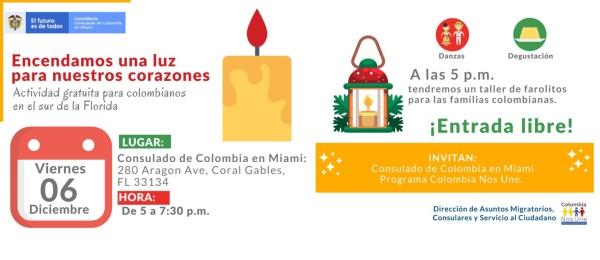 """El Consulado de Colombia en Miami invita a los colombianos a """"encender una luz para nuestros corazones"""" el 6 de diciembre de 2019"""
